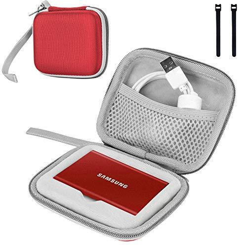 ProCase Custodia per Samsung Memorie T7 / T7 Touch SSD Esterno Portatile da 500GB 1TB 2TB Unità a Stato Solido Esterna Hard Disk, Borsa per Il Trasporto -Rosso