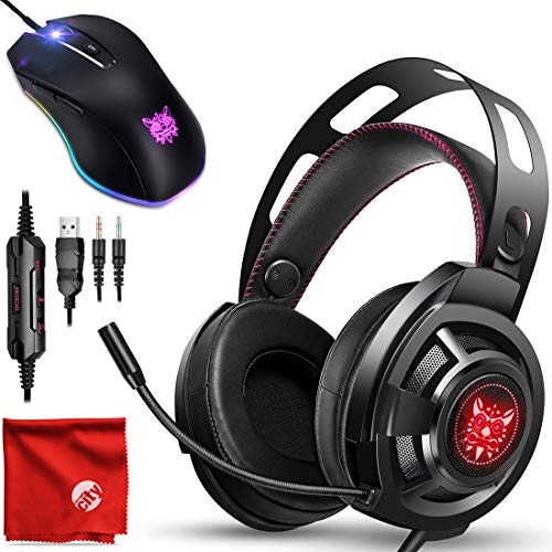 ONIKUMA M190 RGB LED Light Pro Over-Ear 7.1 Surround Sound Noise Cancelling Gaming Headset Headphones Microphone Bundle with 8000 DPI RGB Wired Mouse for PC, MAC, Desktop, Laptop Computer