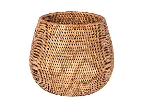 KOUBOO La Jolla Coco Rattan Bowl, Honey-Brown, Large Planter