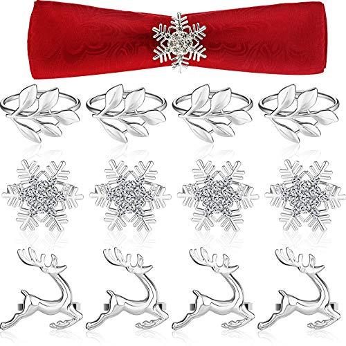 12 Pieces Christmas Napkin Rings, Metal Leaf Napkin Holders Xmas Elk Reindeer Napkin Buckle Rhinestone Snowflake Napkin Ring Holders Dinner Table Rings Decoration for Christmas Wedding (Silver)