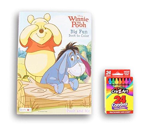 Winnie the Pooh Big Fun Book to Color (Eeyore, Tigger, Piglet Coloring Sheets, Games, Activities) & Box of 24 Crayons Bundle