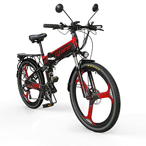 Extrbici Bicicleta de montaña eléctrica Plegable 500W Cuadro de Aluminio Doble suspensión una Rueda XF770 48V 21 velocidades 26 Pulgadas(Rojo)