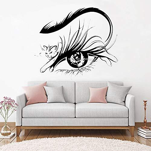 JXAA Design Abstract Eyelashes Decals Wall Stickers Art Decals Eye Shop Salon Decoration Eyelashes Eyebrows Eyelashes Flower Mural Tiger 57.6x50.4cm