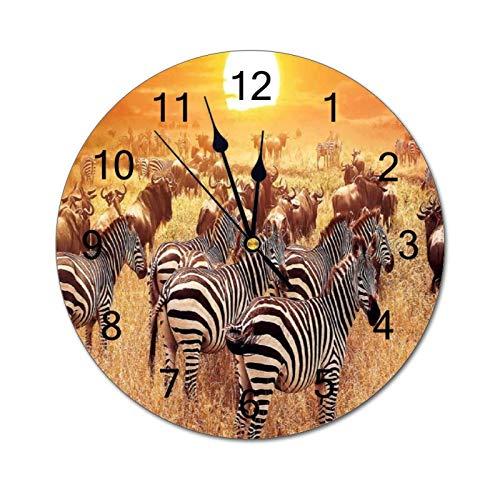 VinMea Reloj de pared decorativo hermoso atardecer de cebra naranja divertido reloj de pared redondo silencioso para oficina, cocina, dormitorio, sala de estar, 30 cm
