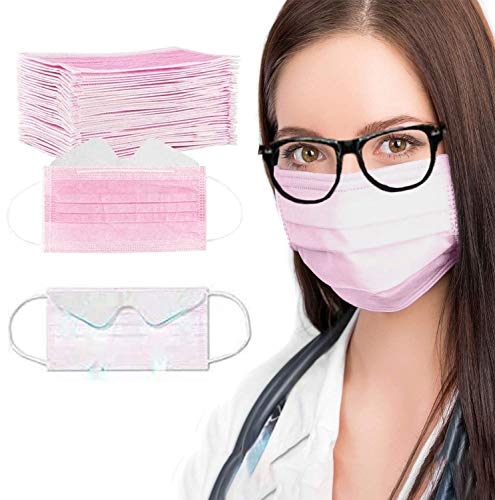 Gokeop 3-ply Disposable Design Face Protection for People with Glasses Anti-fog Breathable Face Bandanas with Nose Wire Mouth Dustproof for Women Men (50 Pcs, Pink)