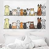 ABAKUHAUS H& Wandteppich & Tagesdecke, Dog Family in a Row, aus Weiches Mikrofaser Stoff Wand Dekoration Für Schlafzimmer, 150 x 110 cm, Gelb Braun