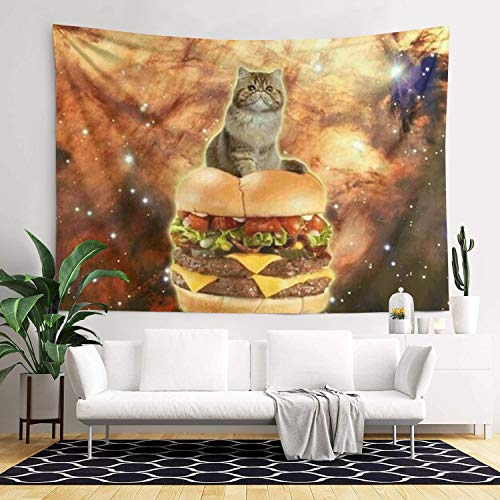 Fun Star Cat Burger Tapestries Rectangular Bed Cover for Room Dormitory Wall in 83×60 Inch