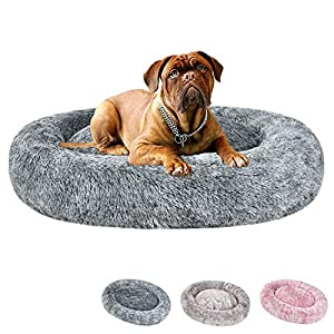 Coohom Oval Calming Donut Cuddler Dog Bed,Shag Faux Fur Cat Bed Washable Round Pillow Pet Bed(30″/36″) for Small Medium Dogs