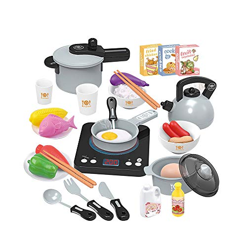 Elektrische Simulation Kitchen Toy Set, Intelligent inductie kookplaat met Light Music Children's Boy Girl Educatief speelgoed, 1 Set,Gray