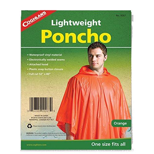 Coghlan's Lightweight Waterproof Poncho, Orange