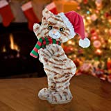 "Gemmy 14"" Twerking Stuffed Plush Kitty Cat with Santa Hat Dances and Sings Baby Got Back Parody"