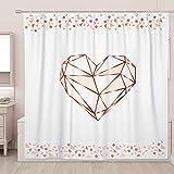 SUMGAR Rose Gold Duschvorhang rosa Herz geometrisches Muster quadratisch Badezimmer Gardinen Modern Mode Dekorative weiße Badvorhänge Polyester Wasserdicht mit 12 weißen Vorhangringen, 180 x 180 cm