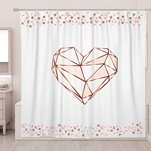 SUMGAR Rose Gold Duschvorhang rosa Herz geometrisches Muster quadratisch Badezimmer Vorhänge Modern Mode Dekorative weiße Badvorhänge Polyester Wasserdicht mit 12 weißen Vorhangringen, 180 x 180 cm