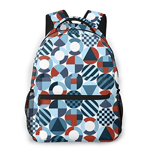 Lawenp School Backpacks Retro Circles with Geometric Shapes for Teen Girls&Boys 16 Inch Student Bookbags Laptop Casual Rucksack
