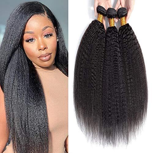 Kinky Straight Human Hair Bundles 141618 Inch 100% Unprocessed Brazilian Virgin Human Hiar Extensions 100g/Bundle Yaki Human Hair Weave 3 Bundles for Black Woman Natural Color