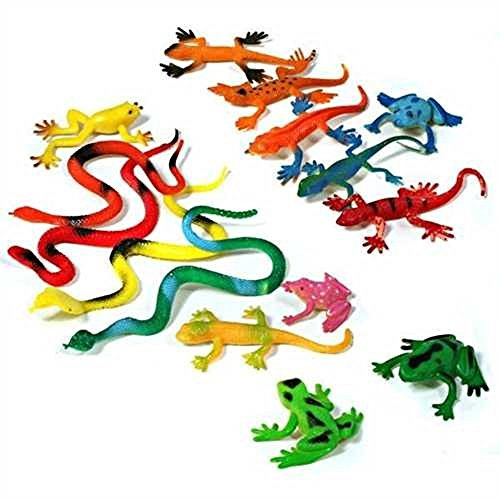 Unbekannt 5 Sets Reptilien je 15 Teile - Frösche Geckos Schlangen usw. Mitgebsel