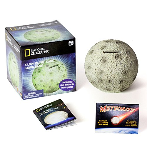 NATIONAL GEOGRAPHIC Glowing Moon Money Bank for Kids - Large Coin Slot and Easy-to-Remove Stopper - An Educational Science and Space Themed Twist on the Traditional Piggy Bank