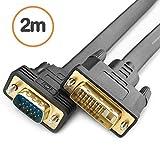 IHYZUO DVI-D-VGA 変換ケーブルDVI-D 24+1 オス to VGA オス変換アダプタラップトップ/モニター/プロジェクター等に対応、フラットケーブル2m