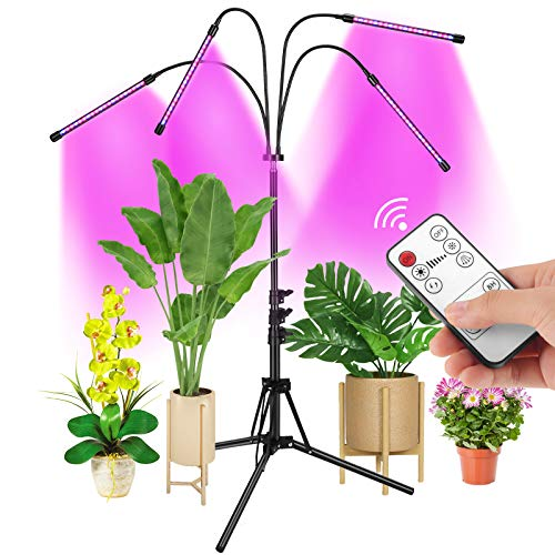 Grow Light with Stand, AMBOR Floor Grow Lights for Indoor Plants, Adjustable Red Blue Spectrum Plant Grow Lamp with Timer, Dual Controllers and Auto ON/Off