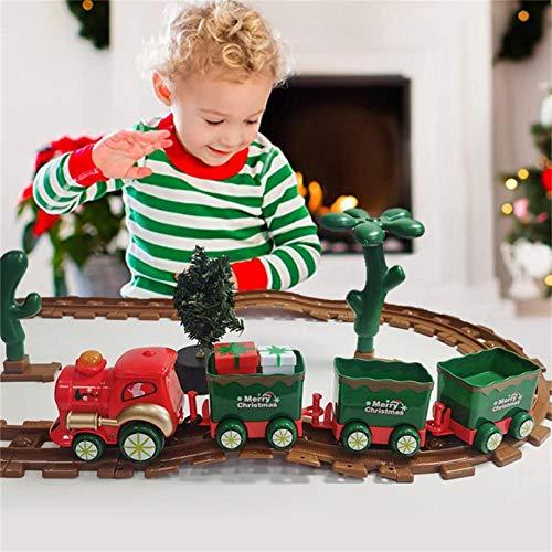AOXING Wspaniałe świąteczne zabawki pociąg zestaw ze światłami i dźwiękami Boże Narodzenie pociąg zestaw z zmotoryzowanym silnikiem torów kolejowych na baterie zabawki świąteczne pociąg prezent dla dzieci, chłopców i dziewcząt
