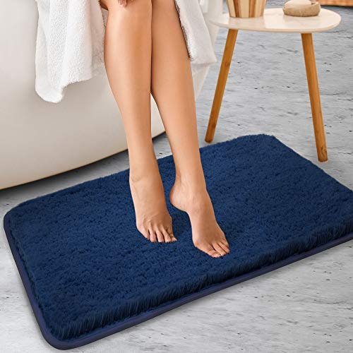 ALAYRAC Bath Mat for Bathroom Thick Non-Slip Bath Rags Strong Absorbent Shaggy Shower Rug Carpet ( Navy, 24x40, Machine Washable)