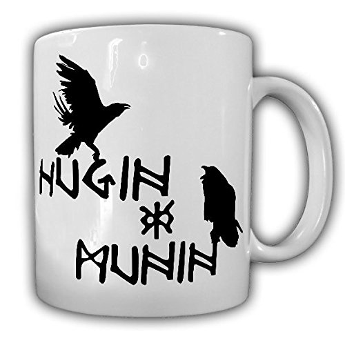 Taza de café Hugin y Munin # 13499, cuervos de Odín, símbolo de pescado cristiano vikingo
