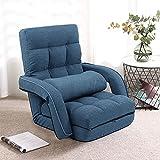 FLOGUOOR Silla plegable 3 en 1, silla de lectura con almohada para dormir individual, 42 posiciones de silla ajustable, sofá cama individual adecuado para relajarse (azul oscuro) 8803