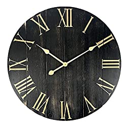 GoodTime 24 Inch Large Rustic Wooden Wall Clock – Oversize Farmhouse Roman Numerals Silent Clock - Big Wooden Wall Clocks for Indoor, Living Room, Bedroom, Kitchen, Dining Room Decor (001)