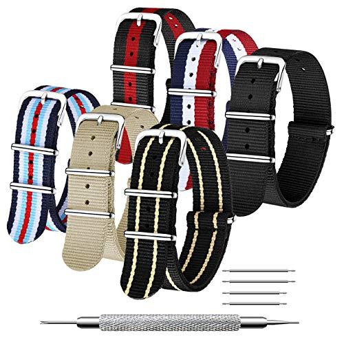CIVO Cinturino Orologio 6 Confezioni Nato Nylon Balistico Cinturini 16mm 18mm 20mm 22mm 24mm Zulu Cinghia Strap Fibbia in Acciaio Inossidabile con Barra a Molla e Perno