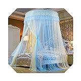 Eileen Ford Red de Insectos Cama | Tienda de Cortinas de Cama Twin Princess Home Queen King Netting Mosquitera Canopy montado en el Techo CK Full Dome Plegable D20-Azul y Blanco-