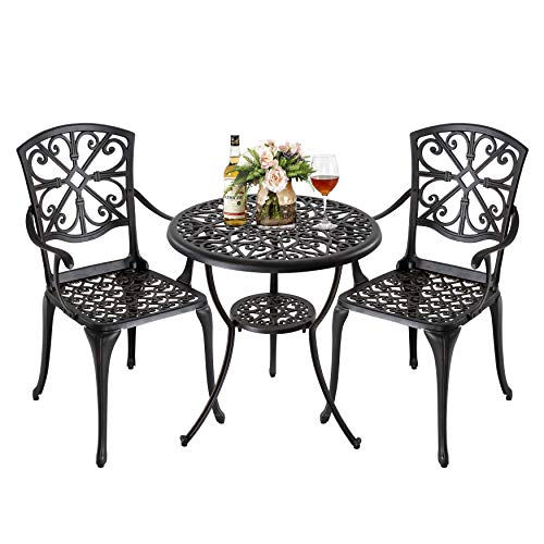 Nuu Garden Bistro Table Set 3 Piece Outdoor Weather Resistant Patio Table and Chairs with Umbrella Hole for Yard, Balcony, Porch, Antique Bronze