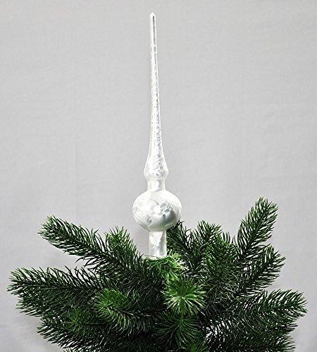 Jack Christbaumspitze Thüringer Glas 28cm Spitze Mundgeblasen Eislack Glanz Matt, Farbe:Weiß Eislack