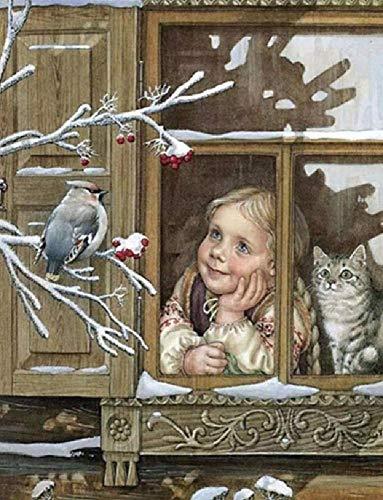 Olieverfschilderij digitaal om zelf te maken - een overgang met de vogel - handgeschilderd op canvas cadeau decoratie thuis muurkunst woonkamer compleet 40 x 50 cm