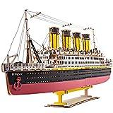 MOEGEN Puzzle 3D Madera Rompecabezas DIY Bloques de Construcción Titanic Modelo de Juguete