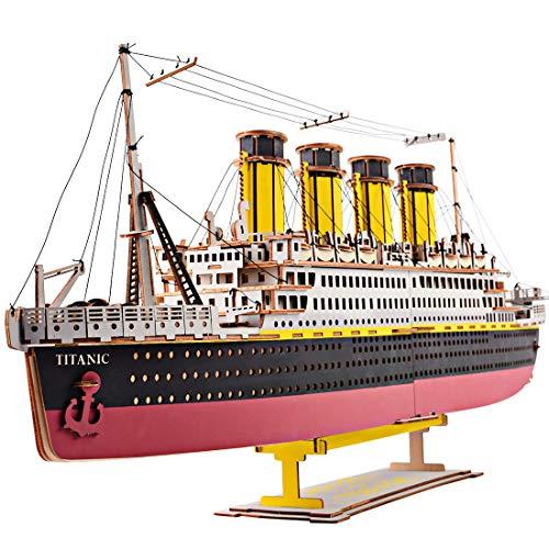 DSXX Puzzle de madera 3D, 371 piezas, rompecabezas 3D, de Titanic, cortadas con láser, kit de construcción, regalo para adultos y niños a partir de 10 años
