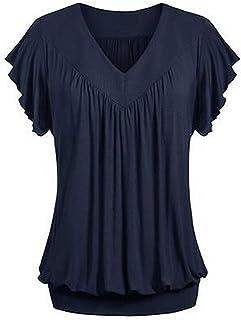 kolila Womens V Neck Short Blouses Ruffled Sleeves Banded Bottom Loose Fit T Shirts Loose Tops for Women