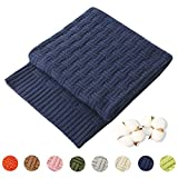 TREELY 100% Cotton Knitted Throw Blanket Couch Cover Blanket(50 x 60 Inches, Navy)