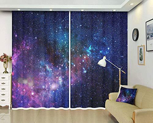 MAOYYM2 3D-Fenstervorhänge für Wohnzimmer, Büro, Schlafzimmer, Cortinas The Galaxy (2 Panele) (2 x B 55 x H 94 / 2 x B 140 x H 239 cm)