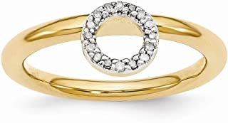 Gold Tone Sterling Silver Diamond 4.4mm Halo Stackable Ring (.09 Ctw, I3 Clarity, H-I Color)