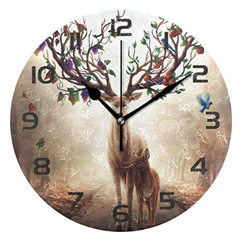 Teisyouhu Animal Deer Elk Reindeer Decorative Wooden Wall Clock,Rustic Silent Retro Clock Decor for Home Office Living Room