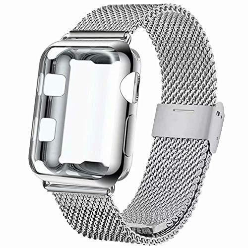 INZAKI Cinturino con Protettiva Cover per Apple Watch 42mm, Rete di Acciaio Inossidabile Cinturino con Custodia Protezione per iWatch Serie 3/2/1, Sport, Edition,Argento