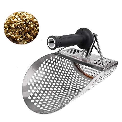 Zand Scoop, Stainless Steel Metal Detector Schop met Hexagon Gaten voor Beach Gold opsporen, Underwater Search, Ontdekken van het metaal en Treasure Hunting