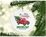 Christmas Decoration Tree Merry Christmas Ornament 2020 Greenleaf Wisconsin Funny Gift Xmas Holiday as a Family Pretty Rustic First Christmas in Our New Home MDF Plastic 3' White