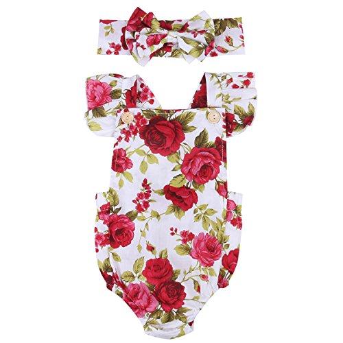 Mystyles Vêtement Bébé Fille Combinaison Florale Rose Imprimée Manches Plisées+Bandeau (12-18mois, Floral)