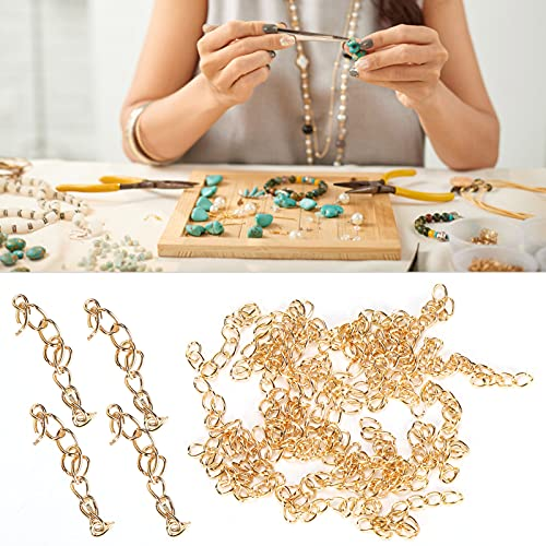 FOKH Cadena de extensión de Pulsera, Cadena de extensión de joyería Brillante 25 Piezas para Tobilleras para Collares