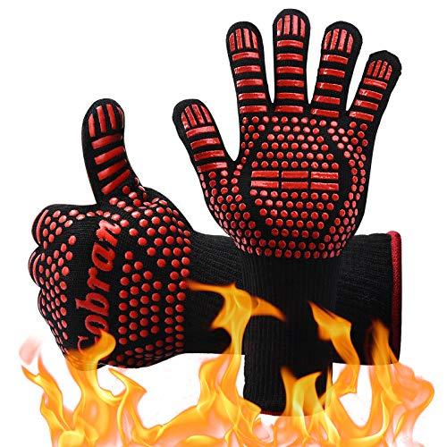 Guantes de Barbacoa Guantes de Horno Guantes de Cocina Resistentes al Calor de hasta 800°C, 1 Par Universal Oven Gloves Antideslizantes con Silicona para Barbacoa Parrilla Hornear Microondas (Rojo)
