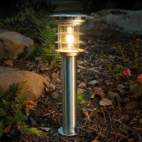 GAMA SONIC Stainless Steel Bollard LED Pathway Light, Solar Landscape Light, Silver (GS-214)