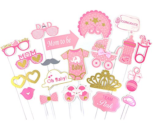SUNBEAUTY Fotorequisiten Babyparty Rosa Taufe Mädchen Babydusche Photo Booth Props