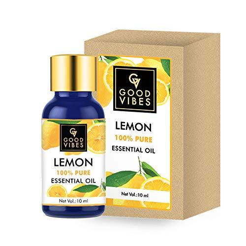 Good Vibes 100% Pure Lemon Essential Oil - 10 ml - Helps Reduce Dandruff & Brightens Skin - Cruelty Free