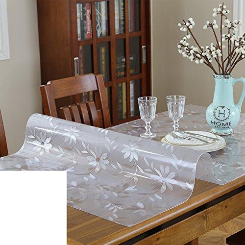 XKQWAN Nappe en plastique Imperméable Burn-proof Tapis de table transparente épaissir Nappe de coussin de cristal de verre mou-T 70x70cm(28x28inch)